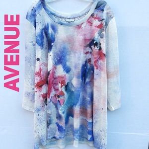Avenue 3/4 sleeve floral embroidered back blouse